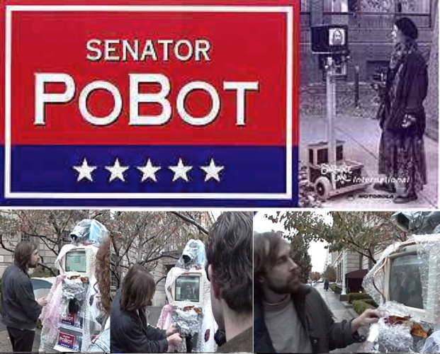 Senator Pobot DATE - 1994 DISCIPLINE - Art MEDIUM – Telepreseence robot STATUS – Displayed in front of the White House in Washington DC WEBLINKS http://www.ecafe.com/museum/hilites/1994.html A project done in collaboration with the Electronic Café in Los Angles that linked a series of musicians and poets located at COMDEX in Las Vegas to the telepresence robot Wilma who performed in fro=nt of the White House in Washington.